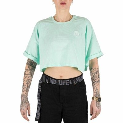 Ladies Mint Oversize Cropped Tee
