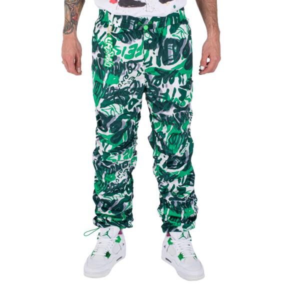 WINDBREAKER PANTS LIP CAMO: GREEN