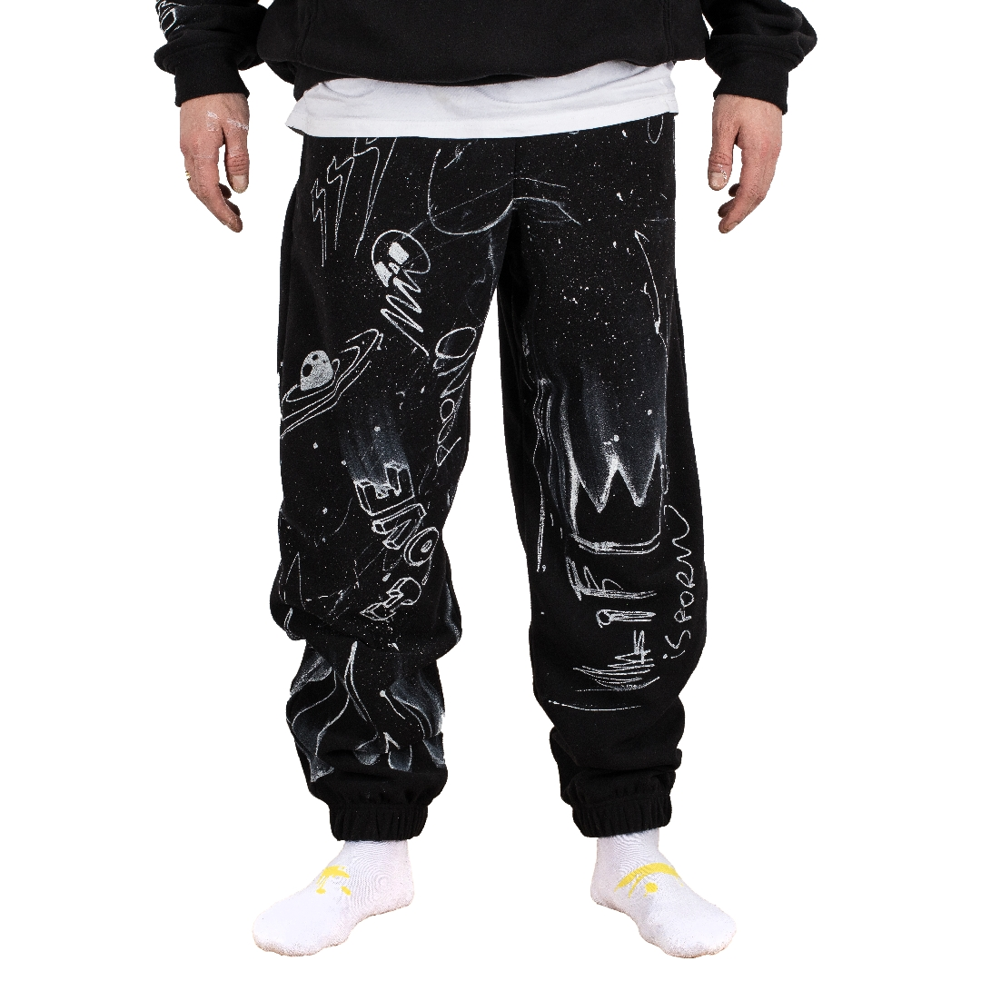 Fleece All-Over-Paint SWEATPANTS Black