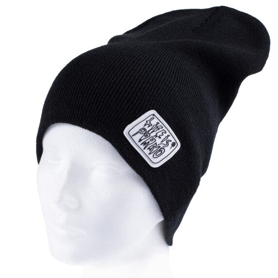 TAXI BEANIE LONG BLACK/WHITE
