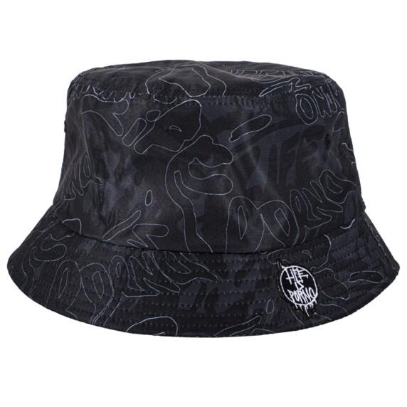 BUCKET HAT LIP CAMO: BLACK