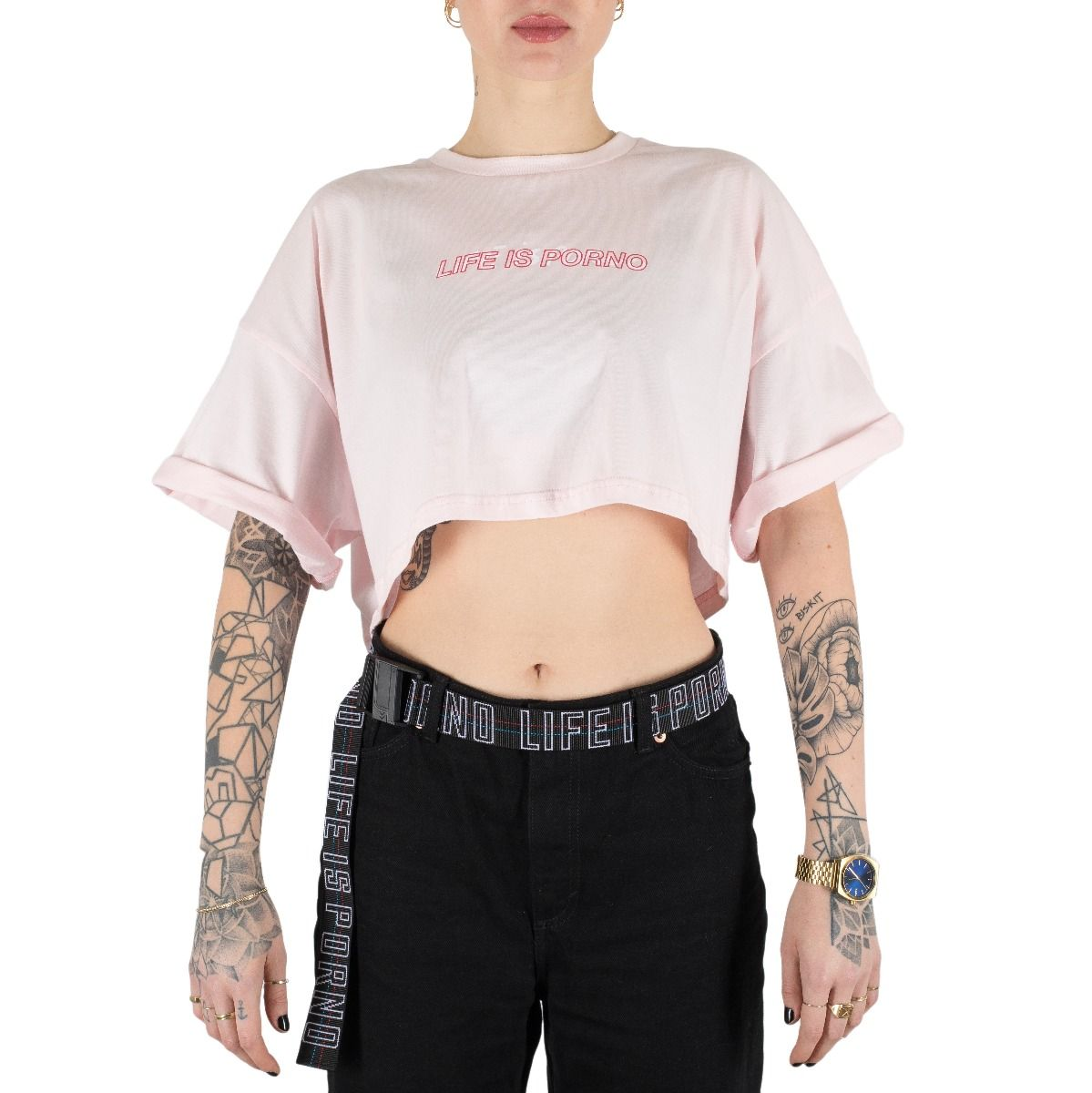 Ladies Pink Oversize Cropped Tee