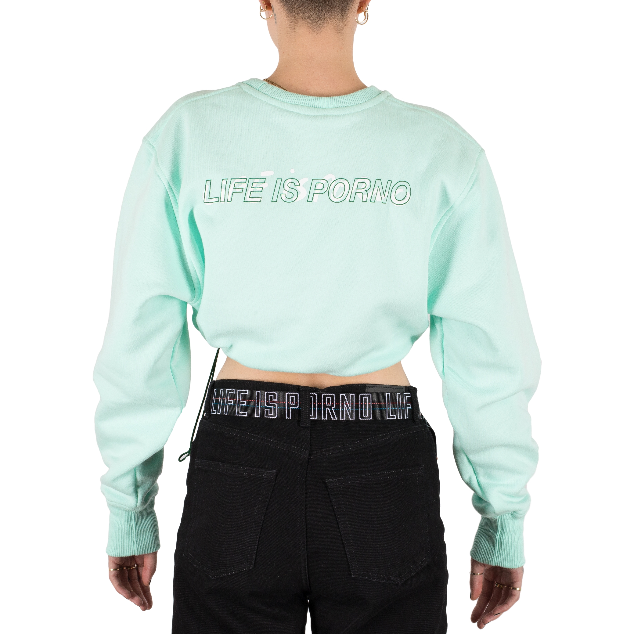 Ladies Mint Oversize Cropped Crewneck